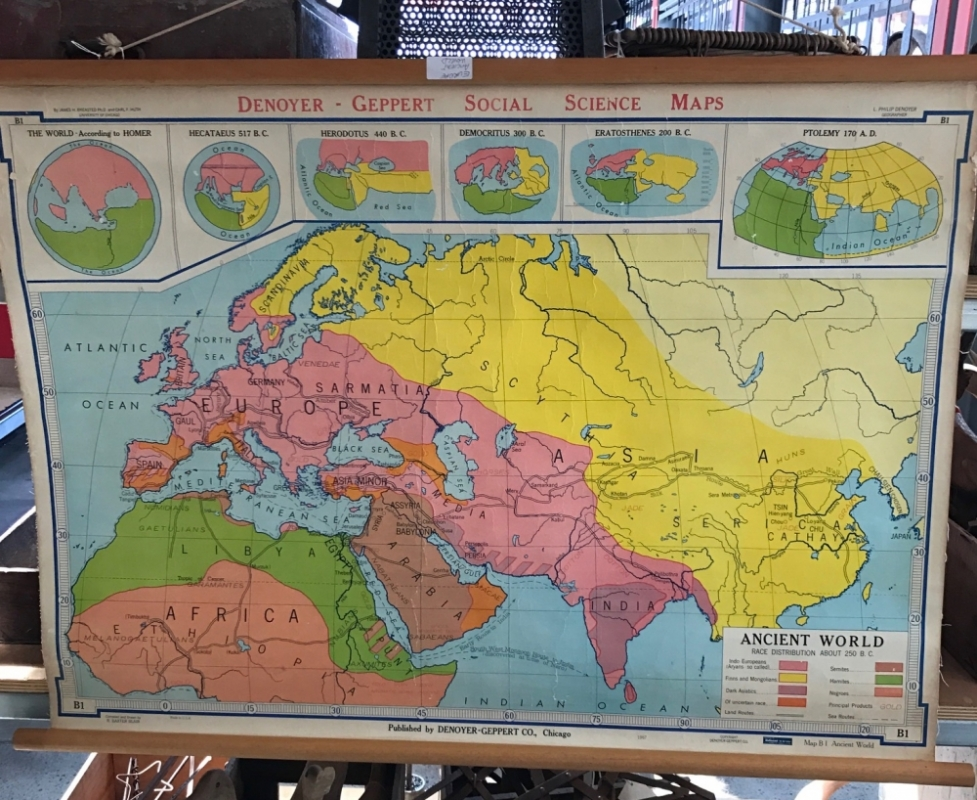 Vintage School Map Europe Asia Africa Ancient Map Grand Ideas